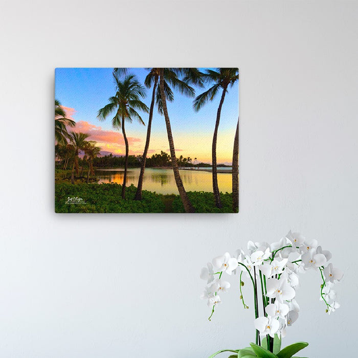 Anaeho'omalu Bay at Dusk (Full and Wrap Giclée Canvas Photo Prints) - Sizes: 12x12 & 12x16 - Shella Island Products,, Canvas Prints - Yoga Leggings, Shella Island Products - Asana Hawaii