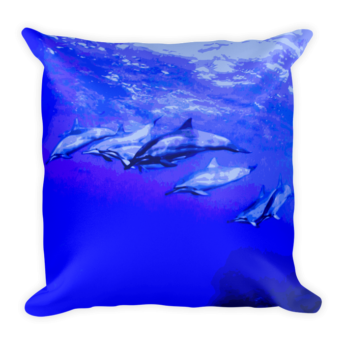 Dolphin Wave Square Pillow - Shella Island Products,, Pillow's - Yoga Leggings, Shella Island Products - Asana Hawaii