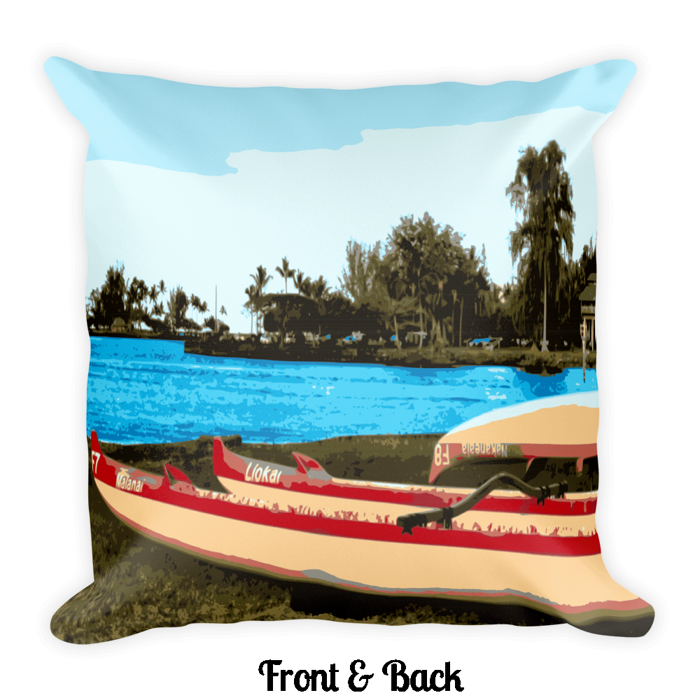 Hilo Bay Canoes Square Pillow - Shella Island Products,, Pillow's - Yoga Leggings, Shella Island Products - Asana Hawaii