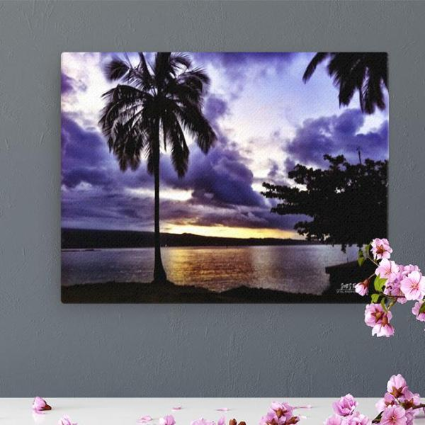 Dusk on Hilo Bay- Giclée Canvas Photo Print- Size: 12x16 - Shella Island Products,, Canvas Prints - Yoga Leggings, Shella Island Products - Asana Hawaii