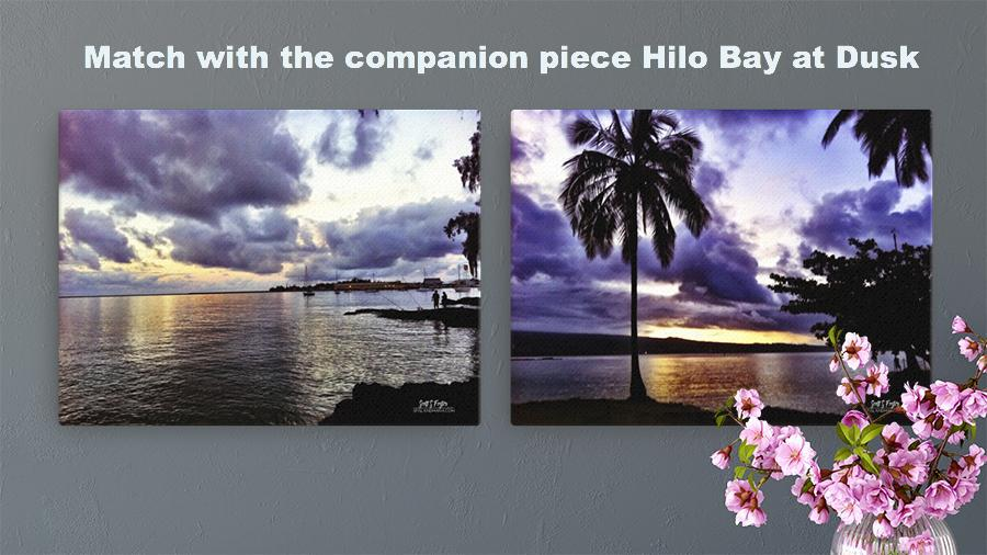 Hilo Bay Fishermen at Dusk Giclée Photo Canvas Print - Size: 12x16 - Shella Island Products,, Canvas Prints - Yoga Leggings, Shella Island Products - Asana Hawaii