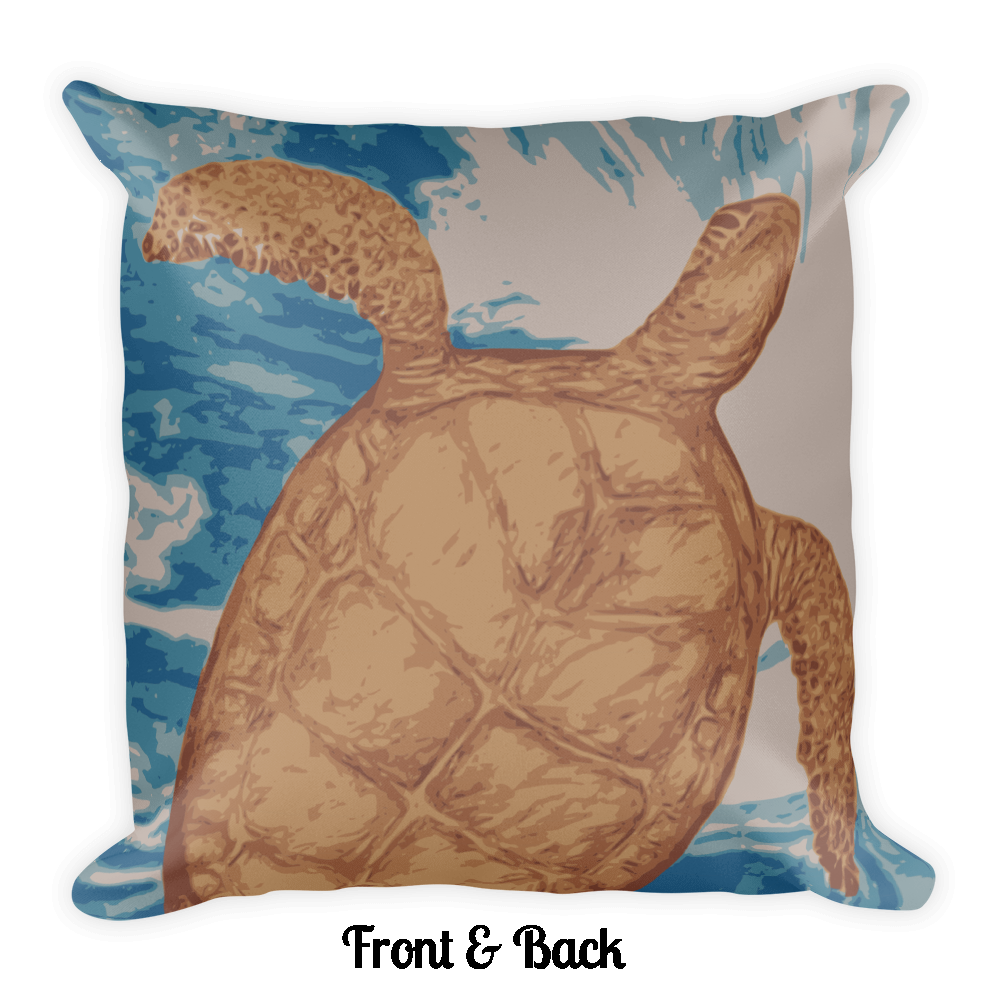 Honu Hawaiian Sea Turtle Square Pillow