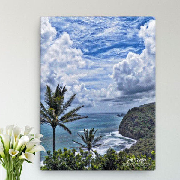 Parting of the Heavens at Pololu Valley Photo Giclée Canvas Print- Size: 12x16 (Wrap Size) - Shella Island Products,, Canvas Prints - Yoga Leggings, Shella Island Products - Asana Hawaii