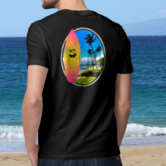 Puako Palms Surfboard Short sleeve t-shirt - Shella Island Products,, T-Shirts - Yoga Leggings, Shella Island Products - Asana Hawaii