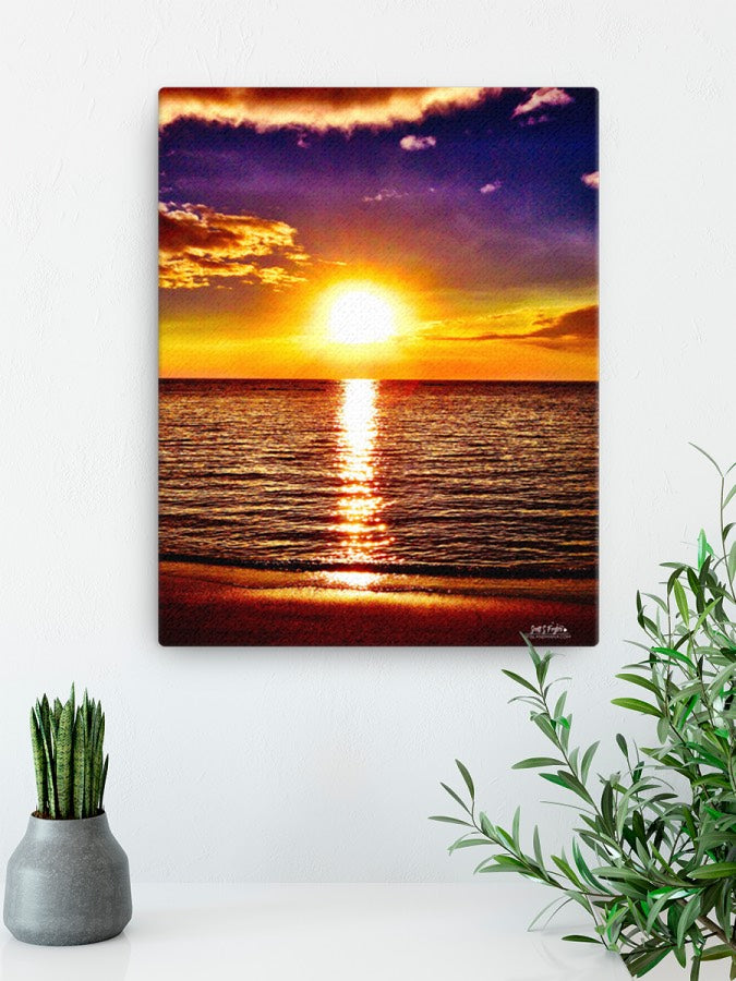 Kohala Coast Sunset at Beach 69s Giclée Canvas Print- Size: 12x16 (wrap style) - Shella Island Products,, Canvas Prints - Yoga Leggings, Shella Island Products - Asana Hawaii