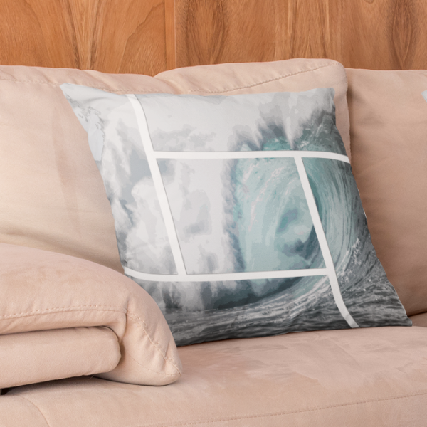 Epic Big Wave Framed Square Pillow - Shella Island Products,, Pillow's - Yoga Leggings, Shella Island Products - Asana Hawaii