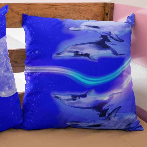 Dolphin Light Wave Square Pillow