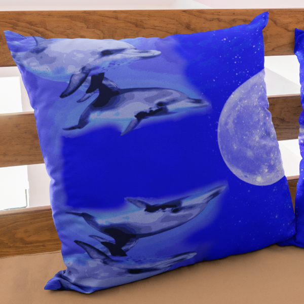 Dolphin Race to the Moon Square Pillow