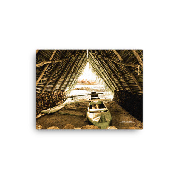 Mauna Lani Canoe Hale (Full Giclée Canvas Print) -Size: 12x16 - Shella Island Products,, Canvas Prints - Yoga Leggings, Shella Island Products - Asana Hawaii