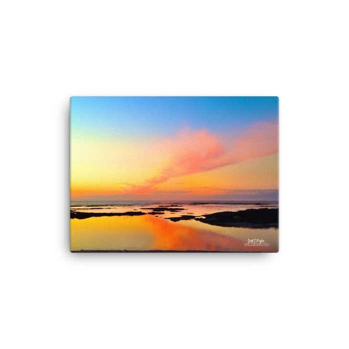 Mauna Lani Tide Pool Sunset Giclée on Canvas Photo Print- Size: 12x16 (Wrap Style)