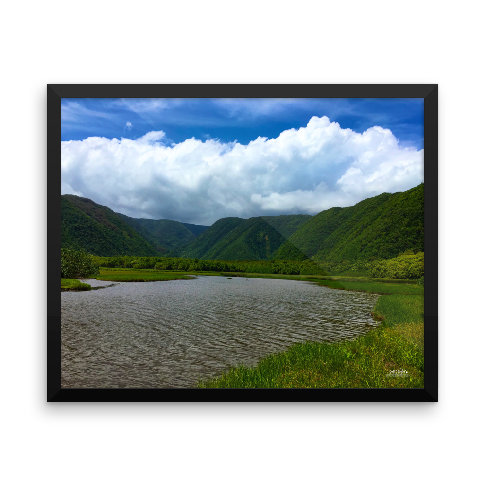 Pololū Valley River Framed Photo Paper - Shella Island Products,, Photo Print - Yoga Leggings, Shella Island Products - Asana Hawaii