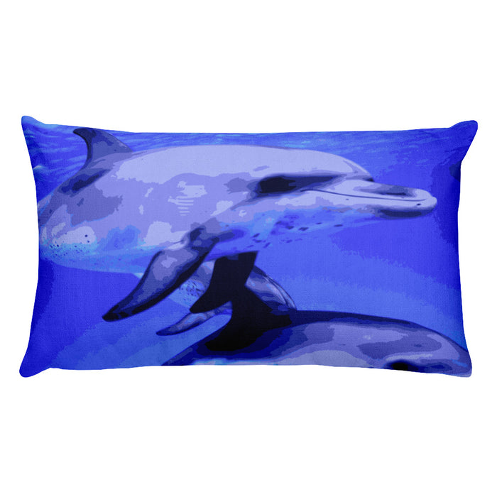 Dolphin Swim Rectangular Pillow - Shella Island Products,, Pillow's - Yoga Leggings, Shella Island Products - Asana Hawaii