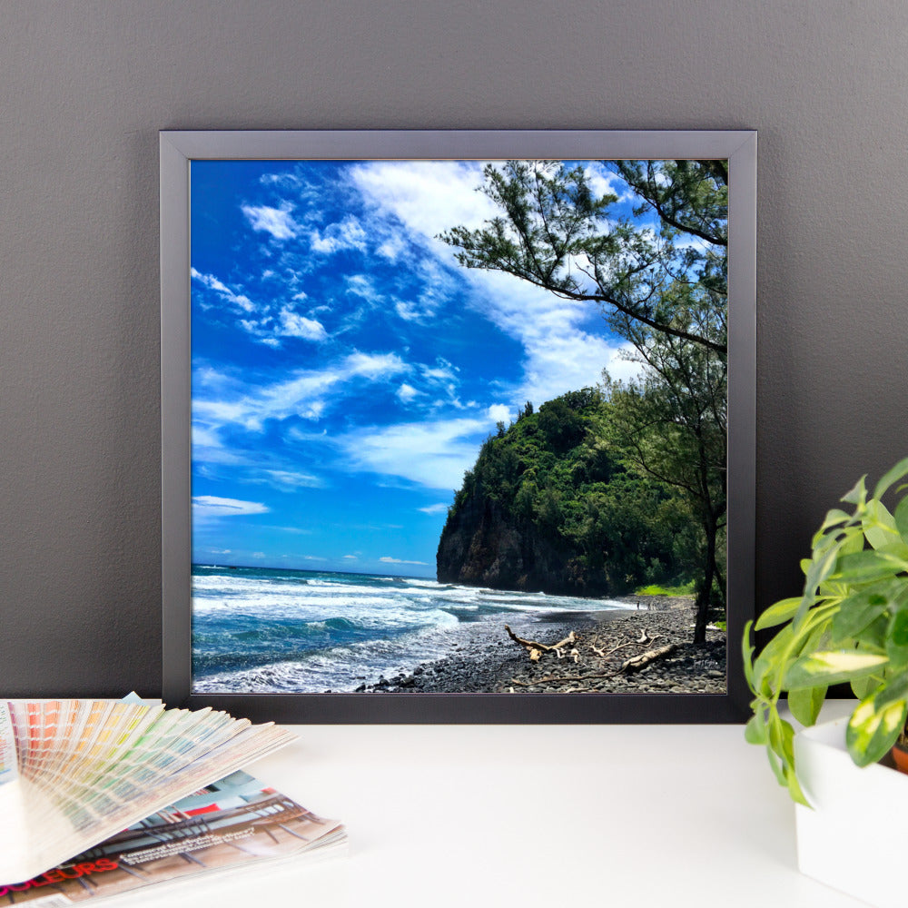 Pololū Valley Black Rocks Framed Print on Photo Paper