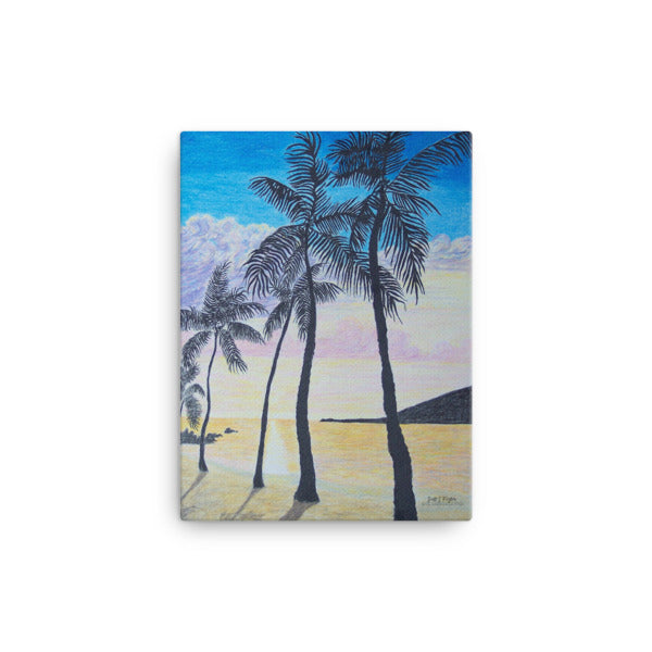 MANINI BEACH SUNSET OVER KEALAKEKUA BAY (Full Giclée Canvas Print) SIZE: 12X16 - Shella Island Products,, Canvas Prints - Yoga Leggings, Shella Island Products - Asana Hawaii