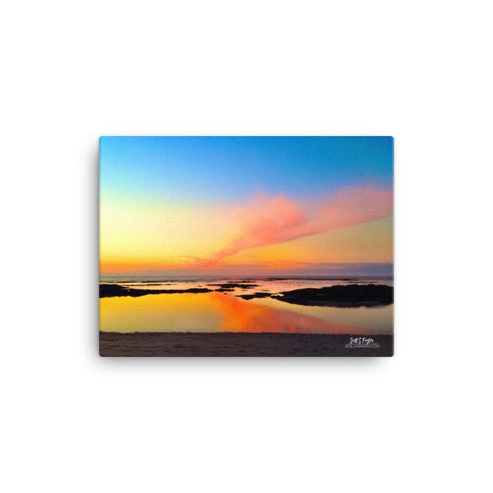 Mauna Lani Tide pools at Sunset Photo Giclée on Canvas Print- Size: 12x16 (Full Size) - Shella Island Products,, Canvas Prints - Yoga Leggings, Shella Island Products - Asana Hawaii