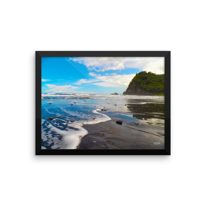 Pololu Valley Surf Framed Photo Paper