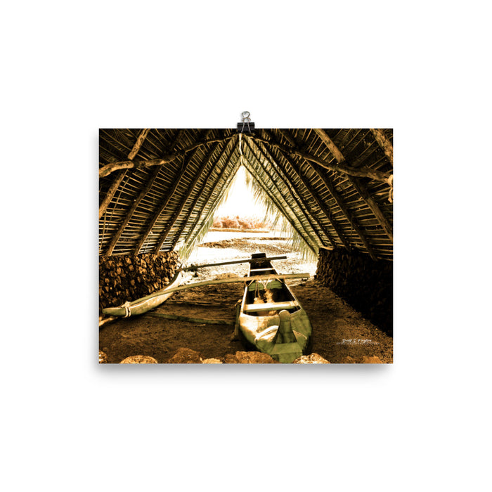 Mauna Lani Canoe Hale on Photo Paper Size: 8x10 in - Shella Island Products,,  - Yoga Leggings, Shella Island Products - Asana Hawaii