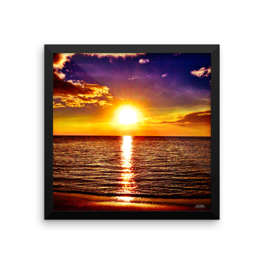 KOHALA COAST SUNSET AT BEACH 69S Framed photo paper - Shella Island Products,,  - Yoga Leggings, Shella Island Products - Asana Hawaii