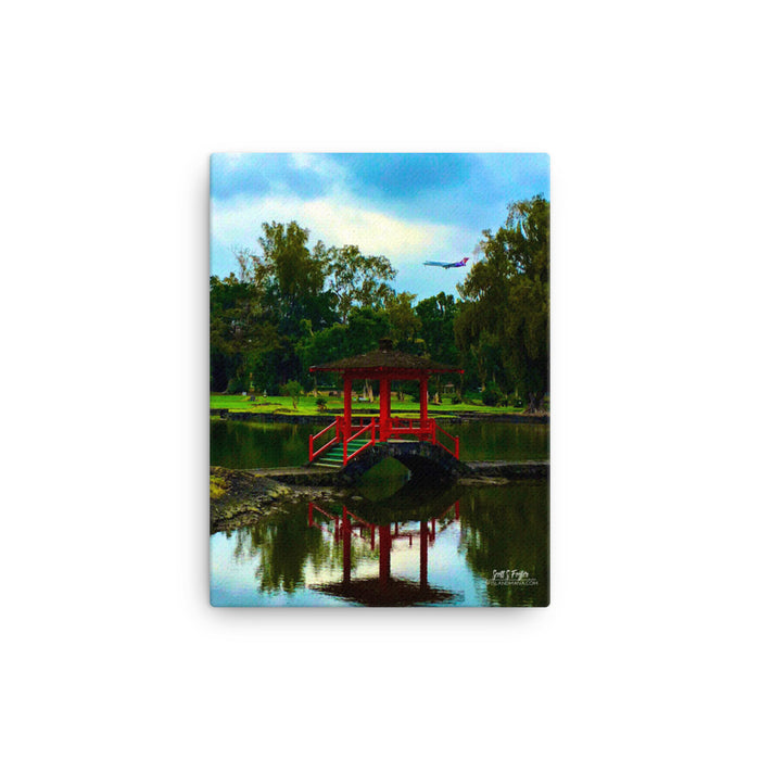 Queen Lilikolani Gardens Hawaiian Airlines Landing Giclée Canvas Photo Print - Size: 12x16 (wrap style)