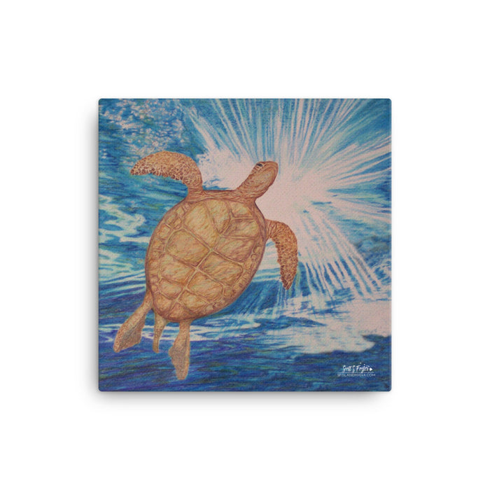 Honu Hawaiian Sea Turtle Giclée Canvas Print- Size: 12x12