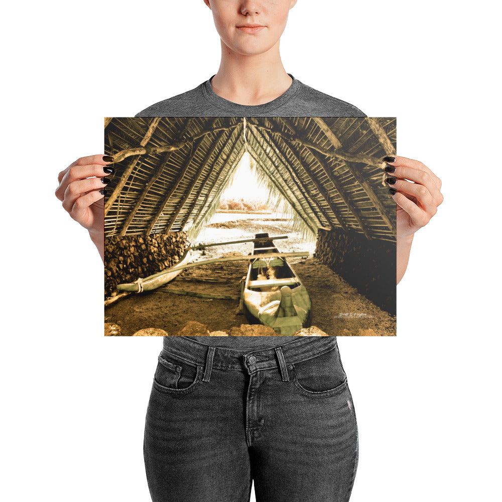 Mauna Lani Canoe Hale on Glossy Photo Paper Size: 12x16 in - Shella Island Products,, Photo Print - Yoga Leggings, Shella Island Products - Asana Hawaii