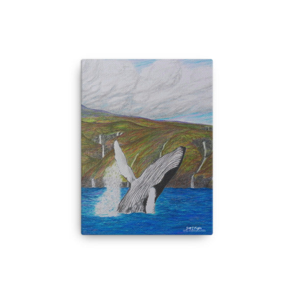 KOHOLA KOHALA COAST HUMPBACK BREACHING (Full Giclée Canvas Print) SIZE: 12X16 - Shella Island Products,, Canvas Prints - Yoga Leggings, Shella Island Products - Asana Hawaii
