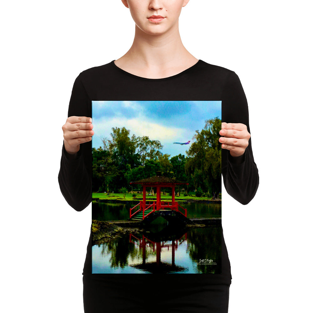 Queen Lilikolani Gardens Hawaiian Airlines Landing Giclée Canvas Photo Print - Size: 12x16 (wrap style) - Shella Island Products,, Canvas Prints - Yoga Leggings, Shella Island Products - Asana Hawaii