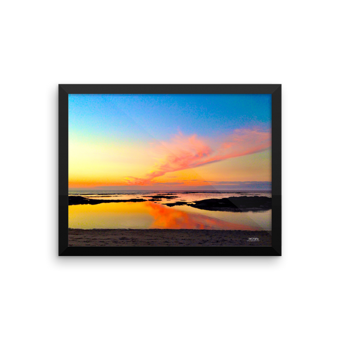Mauna Lani Tide Pool Sunset Framed Photo Paper