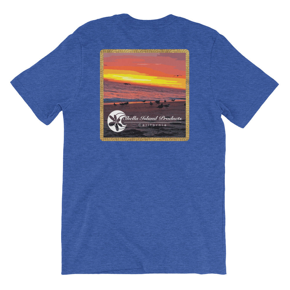 California Beach Sunset Short-Sleeve Unisex T-Shirt - Shella Island Products,, T-Shirts - Yoga Leggings, Shella Island Products - Asana Hawaii