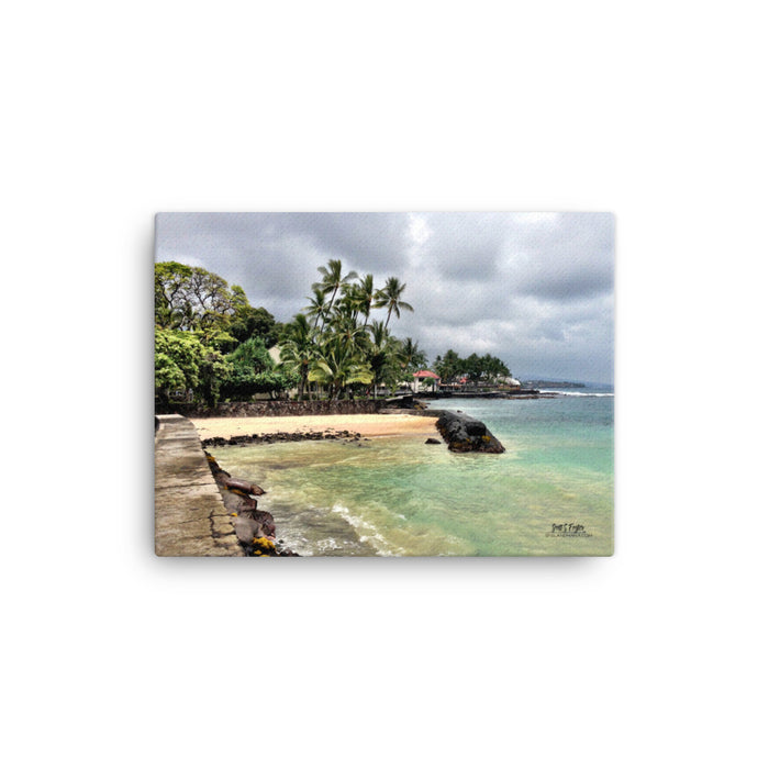 Kona Bay Seawall Photo on Canvas Giclée Print Size: 12x16 - Shella Island Products,, Canvas Prints - Yoga Leggings, Shella Island Products - Asana Hawaii