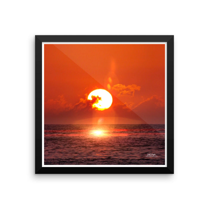 KOHALA NOVA SUNSET  - FRAMED GLOSSY PHOTO PAPER SIZE: 14X14 IN - Shella Island Products,, Photo Print - Yoga Leggings, Shella Island Products - Asana Hawaii