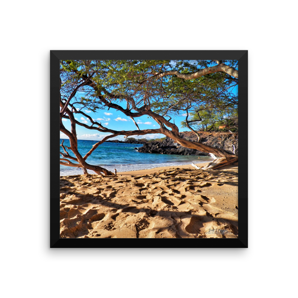 WAIALEA BAY BEACH 69S  On Framed photo print - Shella Island Products,, Photo Print - Yoga Leggings, Shella Island Products - Asana Hawaii