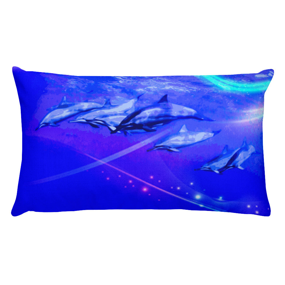 Dolphin Troop Wave Race Rectangular Pillow - Shella Island Products,, Pillow's - Yoga Leggings, Shella Island Products - Asana Hawaii