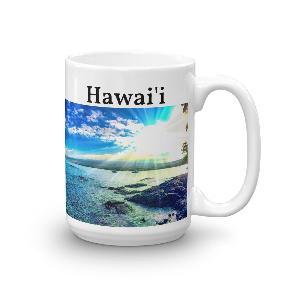 Puako Beach Hawaii Mug - 11oz. or 15oz. Sizes - Shella Island Products,, Mugs - Yoga Leggings, Shella Island Products - Asana Hawaii