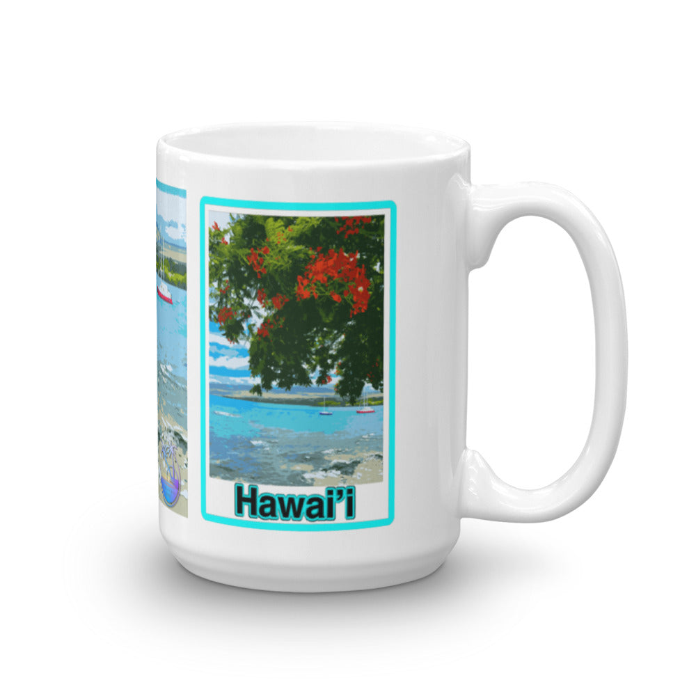Boats in Puako Bay Mug - Shella Island Products,, Mugs - Yoga Leggings, Shella Island Products - Asana Hawaii
