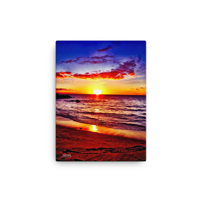 Beach 69s Blue Sunset Giclée Canvas Photo Print - Size: 12x16 (Full Print)