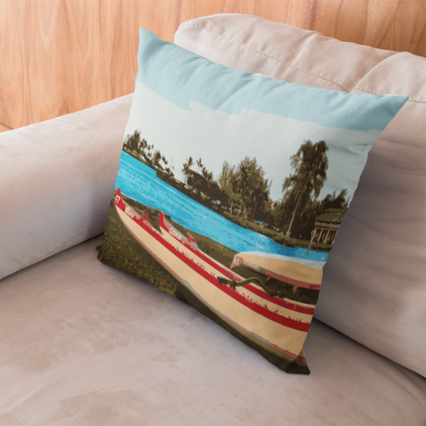Hilo Bay Canoes Square Pillow