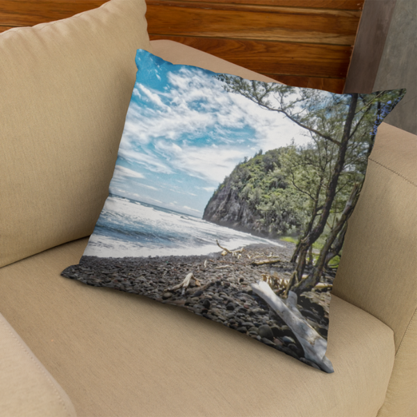 Pololu Valley Beach Square Pillow