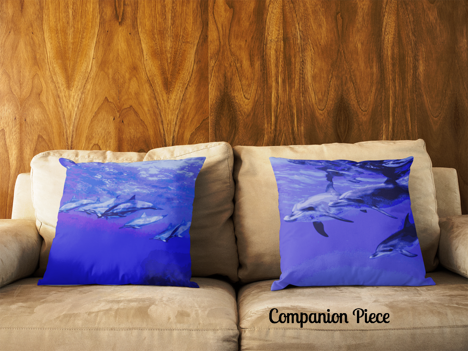 Dolphin Troop Square Pillow - Shella Island Products,, Pillow's - Yoga Leggings, Shella Island Products - Asana Hawaii