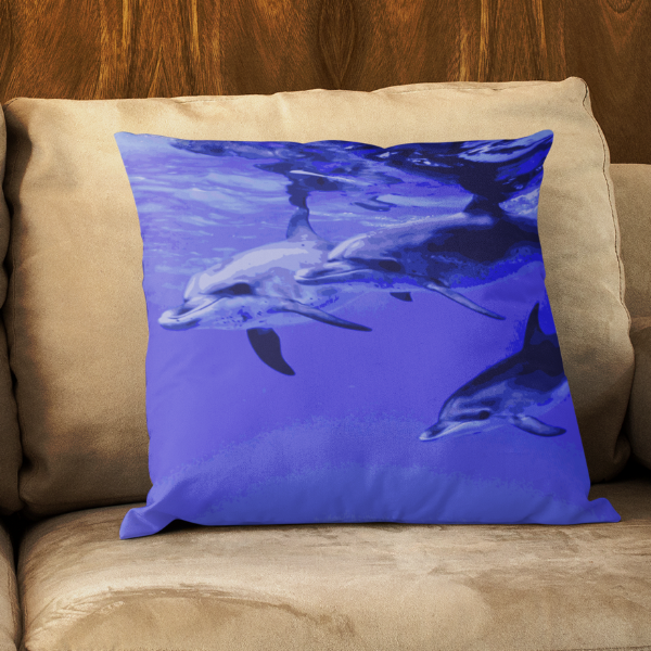 Dolphin Swim Hawaii Square Pillow - Shella Island Products,, Pillow's - Yoga Leggings, Shella Island Products - Asana Hawaii
