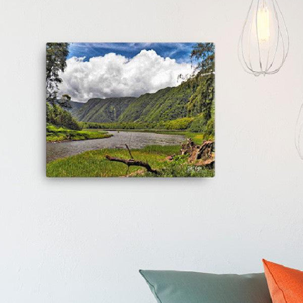 Pololu Valley River Giclée Canvas Photo Print - Size: 12x16 (wrap style) - Shella Island Products,, Canvas Prints - Yoga Leggings, Shella Island Products - Asana Hawaii