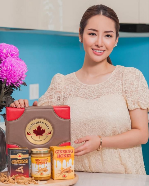 Canadian Vita ginseng, ginseng honey, ginseng soup, dried ginseng roots, ginseng capsules