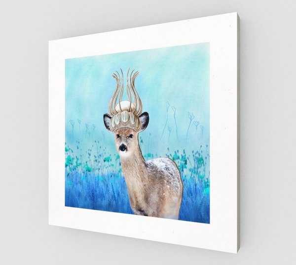 Crowned Deer 8x8 Canvas