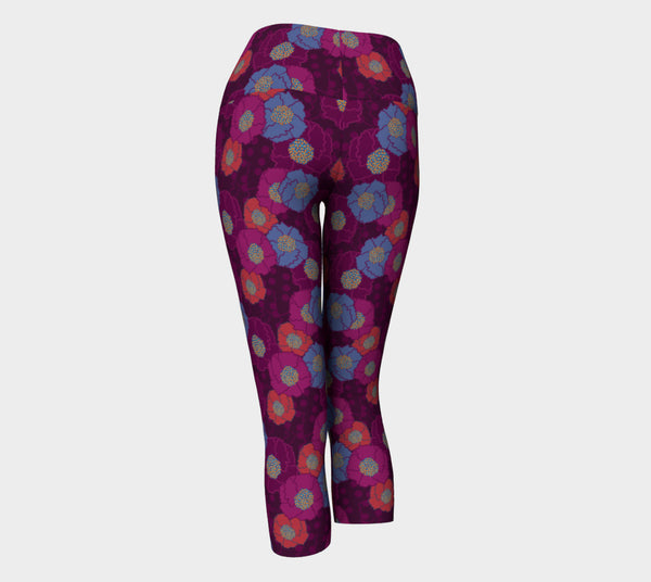 Crepe Floral Plum Yoga Capri Leggings