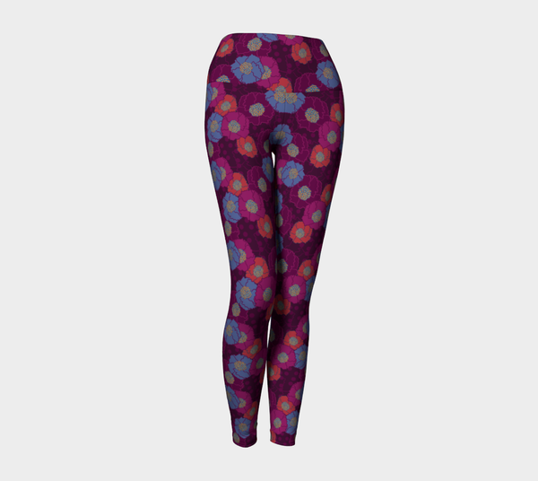 Crepe Floral Plum Yoga Leggings