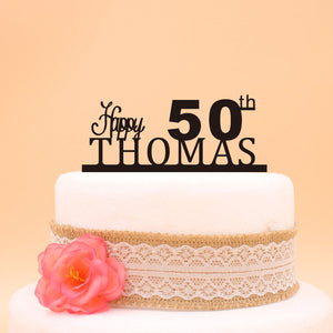 Happy 50th Birthday Custom Cake Topper