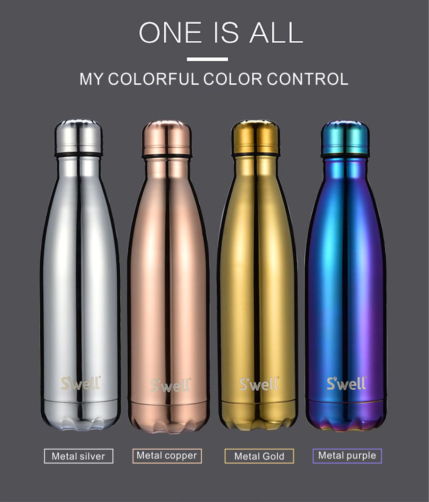 S'well Vacuum Insulated Stainless Steel Water Bottle, Double Wall,   17 oz Metallic Collection