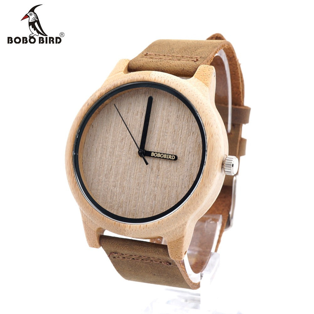 BOBO BIRD A22 Bamboo Wood Quartz Analog Watch Miyota Japanese 2035 Movement With Logo Pointer in Gift Box