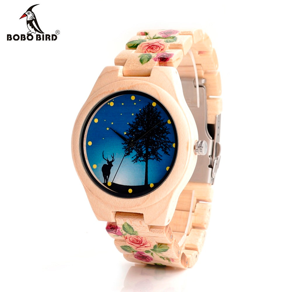 BOBO BIRD Bamboo womens wooden Watch UV Printing Flower Wood Band Female Quartz Watches for Ladies Japanese Miyota 2035 Movement