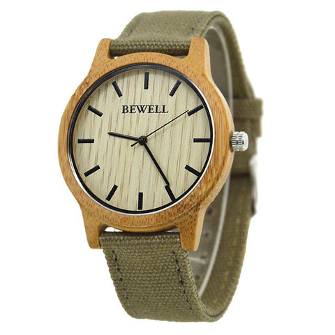 BEWELL 2017 Hot Sell Sports Dress Casual Natural Wood & Bamboo Watch With Canvas  Band for mens Gifts With Paper Box 134A